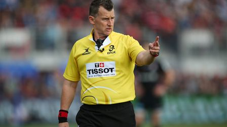 Referee Nigel Owens in the Heineken Champions Cup game between Saracens v Glasgow Warriors at the Al