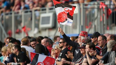 Saracens fans celebrate the win in the Heineken Champions Cup game between Saracens v Glasgow Warrio