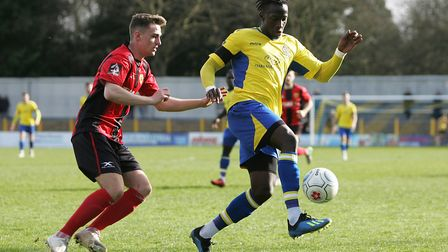 David Moyo scored St Albans City's first goal at Slough Town.Picture: Karyn Haddon