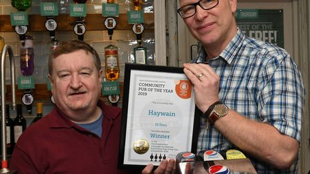 Landlord Steve Lowe, with Richard Harrison branch chairman for Huntingdonshire
