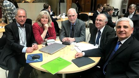 Anne Main met campaigners for a new hospital central to St Albans, Watford and Dacorum. Picture: Ann