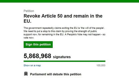 At time of publishing, the 'Revoke Article 50' petition had nearly 6 million signatures. Picture: Pa