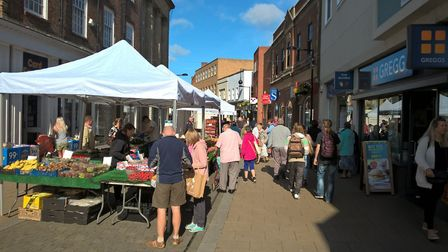 Huntingdon's revamped market in the High Street