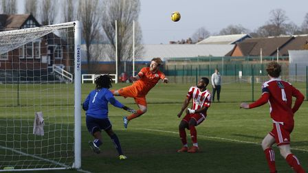 St Ives Town man Ben Seymour-Shove couldn't put this header away during their draw at second-placed