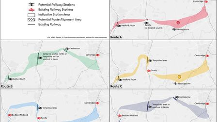 The proposed routes for the East West railway link. Picture: East West Rail