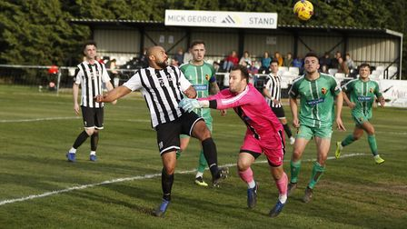 Gavin Hoyte goes close for St Ives Town in their home defeat at the hands of Alvechurch. Picture: LO