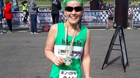 Michelle Byatt of Riverside Runners was the leading lady in the marathon at the Bedford Autodrome Ru