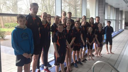 St Ives Swimming Club members who were in action at Corby. Picture: SUBMITTED