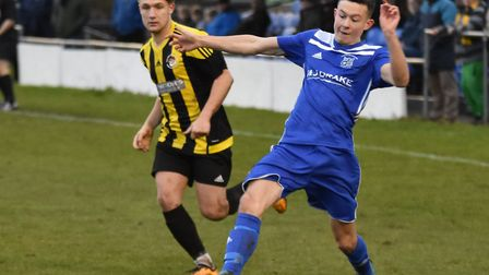 Matty Allan scored Godmanchester Rovers' goal in their draw with Thetford. Picture: J BIGGS PHOTOGRA