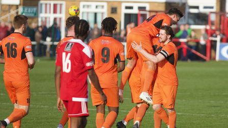St Ives Town players celebrate their late equaliser at Stourbridge. Picture: LOUISE THOMPSON