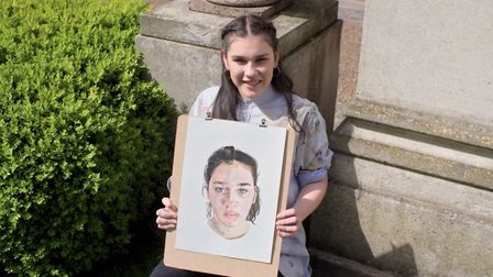Romy Kelleher from St Albans with her self-portrait on SkyArts Portrait Artist of the Year. Picture: