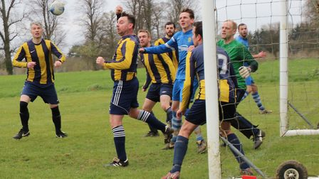 Oaks' defence are put under pressure from the Skew Bridge Rothamsted attack. Picture: BRIAN HUBBALL