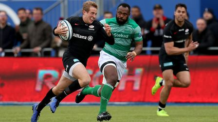 Saracens' Max Malins during the Gallagher Premiership match with Newcastle Falcons at Allianz Park,