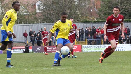 Khale Da Costa deftly lobs Nathan McDonald in the Chelmsford goal for a wonderful third for St Alban