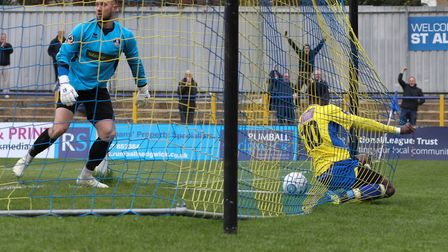 David Moyo hits the back of the net after making it 2-1 for St Albans City. Picture: JIM STANDEN