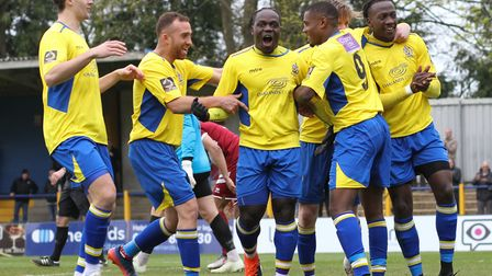 St Albans celebrate taking a 2-1 lead over Chelmsford. Picture: JIM STANDEN