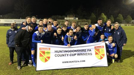 Godmanchester Rovers celebrate their Hunts Senior Cup triumph. Picture: MARK PLUMMER
