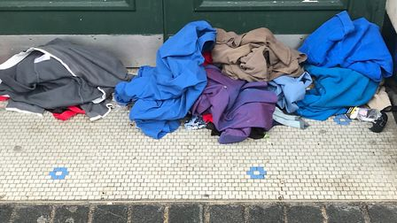 A rough sleeper's possessions outside Marks and Spencer, St Albans.