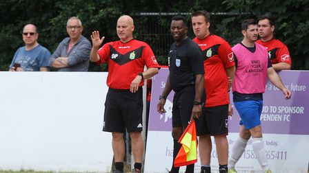 Harpenden Town v Edgware Town - Harpenden Town manager Danny Plumb in the FA Cup tie. Picture: KA