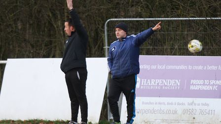 Harpenden Town v Colney Heath - Harpenden Town manager Danny Plumb (right). Picture: KARYN HADDON