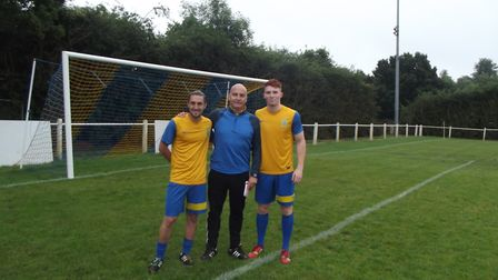 Harpenden Town manager Danny Plumb with Sam James, left, and Sam Jenkins, right.