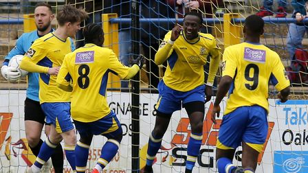 David Moyo celebrates after scoring his second of the game against Chelmsford City. Picture: LEIGH P