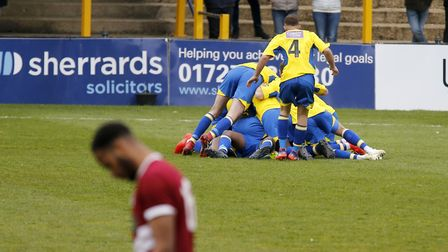 Saints players celebrate Khale Da Costa's perfectly-taken goal. Picture: LEIGH PAGE