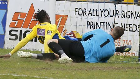 David Moyo follows the ball into the net. Picture: LEIGH PAGE