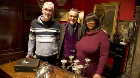 Julie and Kevin Keeble with TV antiques expert Paul Martin (centre) Picture: CONTRIBUTED