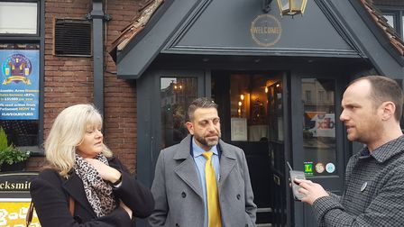 St Albans MP Anne Main with publicans Christo Tofalli and Sean Hughes, who have been named CAMRA's C
