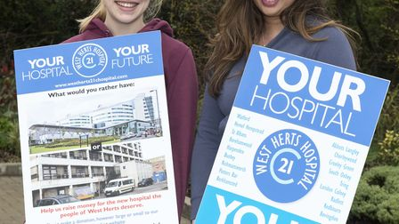 Kate Wood and Claire Banbury of the West Herts 21st Century Hospital group are trying to raise money