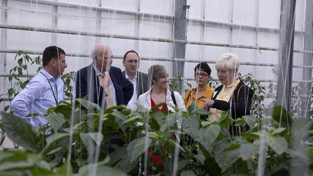 Liberal Democrat party leader Sir Vince Cable visiting St Albans' Glinwell Marketing, with St Albans