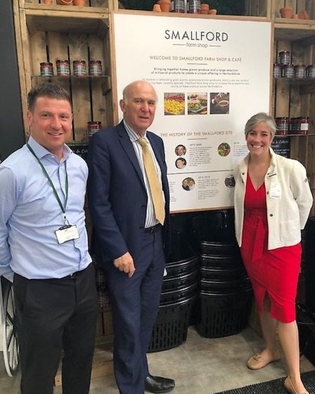 Liberal Democrat party leader Sir Vince Cable in the Smallford Farm Shop while visiting St Albans, a