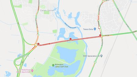 The A428 between St Neots and Wyboston is closed. Picture: GOOGLE