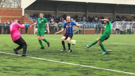James Hazell scores Blacksmiths late goal against Everett Rovers in the Herts Intermediate Cup final