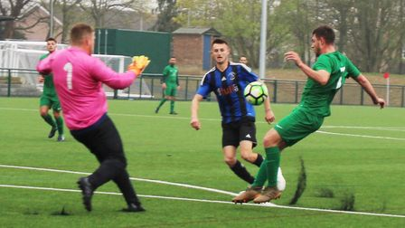 Blacksmiths put early pressure on the Everett Rovers goal in the final of the Herts Intermediate Cup