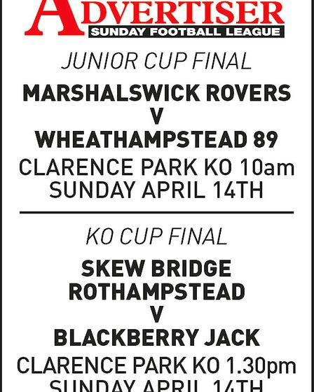 Poster advertising the 2019 Herts Advertiser Sunday League Junior and Knockout Cup finals to be held
