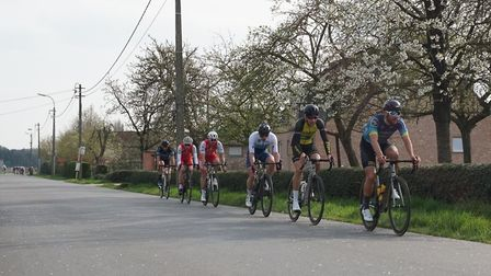 The break containing GPN Builders/Rock & Road Bikes' Michael Parry and Marcel Six is chased down by