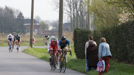 GPN Builders/Rock & Road Bikes' Michael Parry goes on the attack in the Bellem Aalter LWU Classic. P