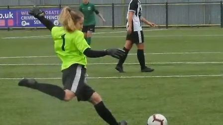 Colney Heath Ladies' Lucy Hancock takes a goal kick against Haringey Borough. Picture: @SNIPERPOSE