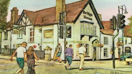 John Bell's image of the Bridge Hotel in St Neots