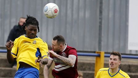 Clovis Kamdjo got the first goal for St Albans City at Bath. Picture: LEIGH PAGE