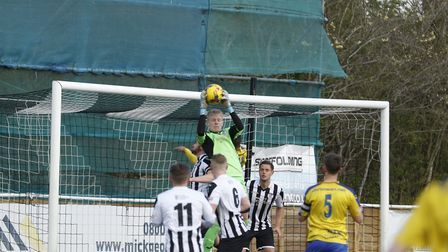 Teenage goalkeeper Shay Griffiths kept a clean sheet in his St Ives Town debut against Redditch. Pic
