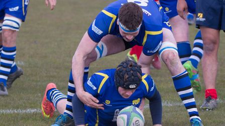 Player-coach John Naylor touches down for a try in St Ives' victory at Coalville in their final Midl