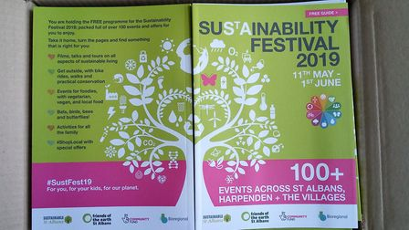 St Albans Sustainability Festival 2019 programmes being handed out at St Albans Market. Picture: St