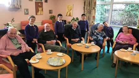 Therfield First School's visit to Age UK Hertfordshires 10 to 3 Club in Royston. Picture: Therfield