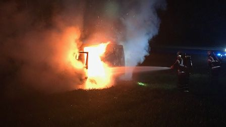 The scene of the van fire in Woodwalton. Picture: CFRS