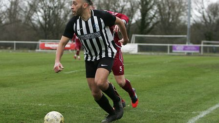 Colney Heath's Chris Blunden scored and was sent-off in an eventful game against Cockfosters. Pictur