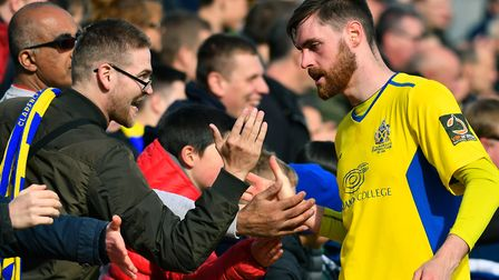 Pictured; James Kaloczi thanks the fans after the game.St. Albans vs TorquayTorquay Football Cl