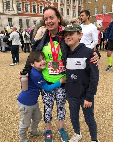 Kelly Durbridge with her seven-year-old daughter Constance and her 11-year-old son Freddie after fin